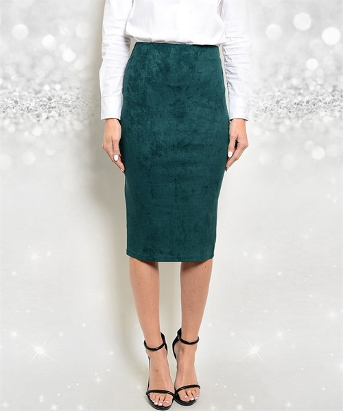 SUEDE TEAL PENCIL SKIRT - Emporium 17