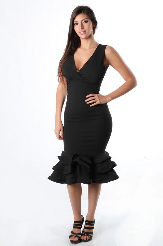 Black Bottom Layered Ruffle Dress Emporium 17